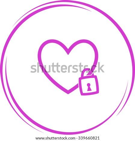 closed heart. Internet button. Raster icon. - stock photo