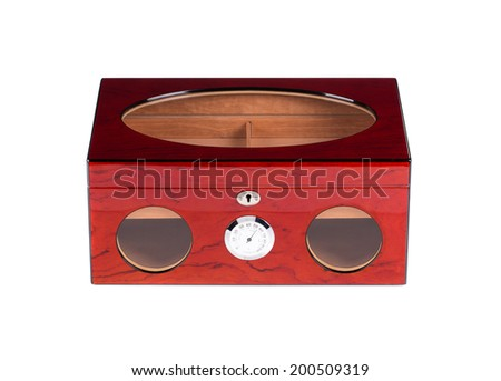 Closed humidor isolated on white background close up - stock photo