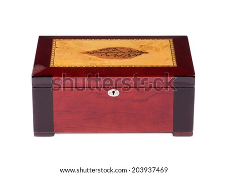 Closed humidor isolated on white background closeup