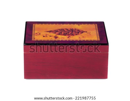 Closed humidor isolated on white background closeup  - stock photo