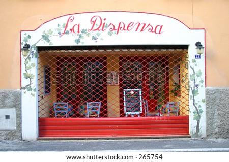 Closed Italian street Cafe - stock photo