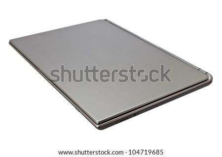 Closed laptop computer isolated on white background