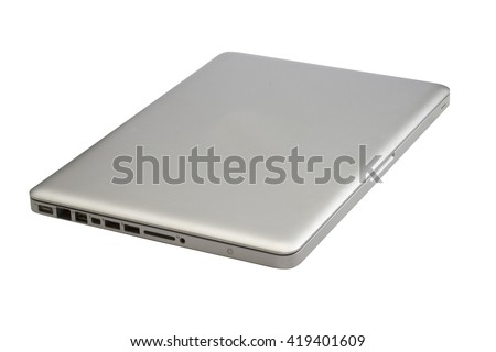Closed laptop isolated on white