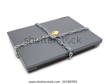 Closed laptop wrapped around with metal chain and locked with padlock shot over white