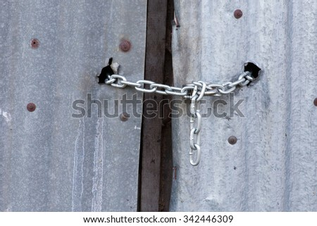 closed lock with a chain - stock photo