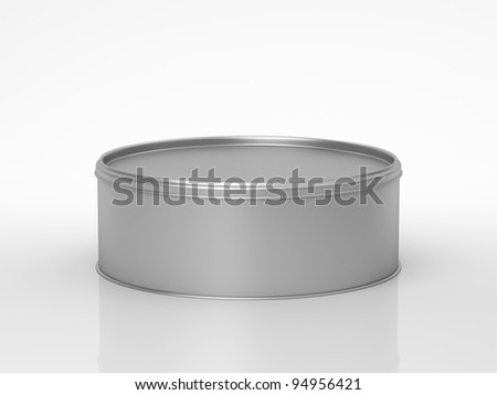 Closed metal bank with a cover on a white background - stock photo