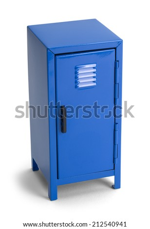 Closed Metal Blue Locker Isolated on White Background. - stock photo