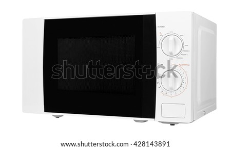 closed microwave made of shiny metal isolated on a white background