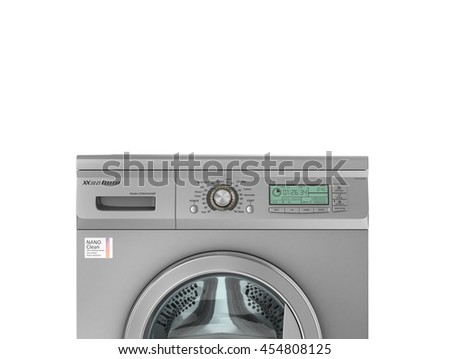 Closed modern washing machine in metallic color. 3d illustration