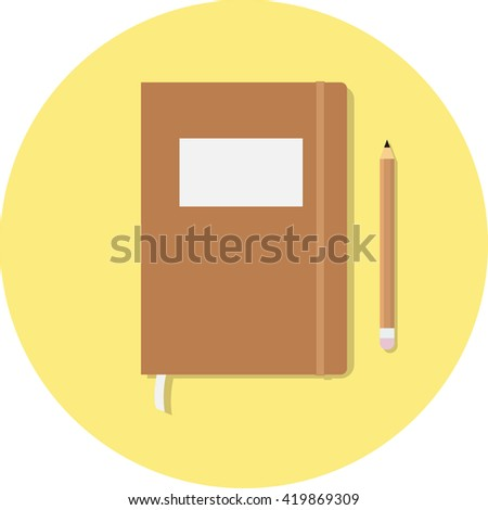 Closed notebook with pencil and pen in top view. Sketchbook or diary. Flat minimal illustration  - stock photo