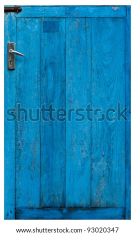 closed old blue wooden door isolated on white background - stock photo