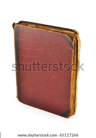 Closed old book isolated on white background
