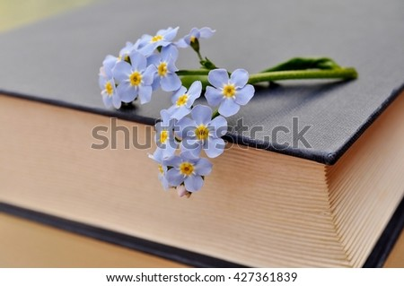 "Closed old book with blue flowers ( forget-me-not) on a glass table. ""Remember"" concept. - stock photo"