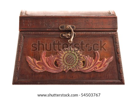 Closed old brown treasure chest isolated on white - stock photo