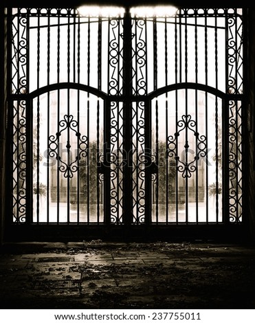 Closed old metal gate - stock photo