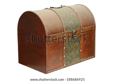 closed old wooden treasure box isolated over white - stock photo