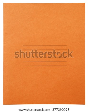 Closed orange notebook isolated on white background with clipping path - stock photo