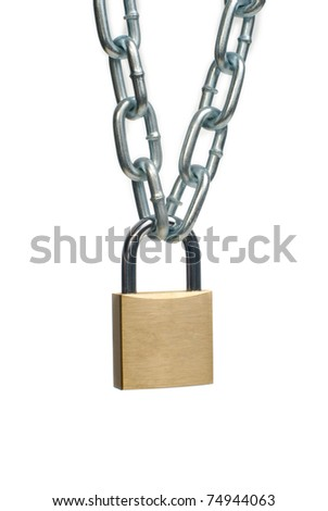 Closed padlock and chain isolated on white background. - stock photo