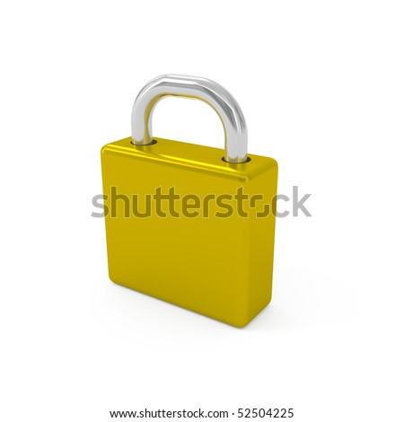 Closed padlock isolated on white - 3d illustration