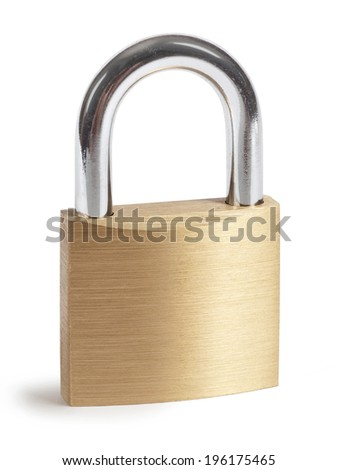 Closed padlock isolated over a white background. - stock photo