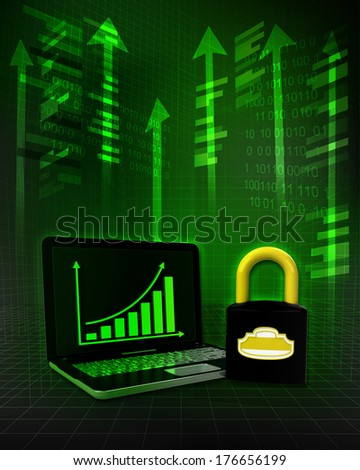 closed padlock with positive online results in business illustration - stock photo