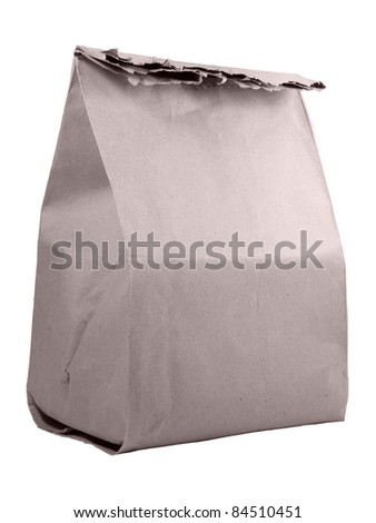 Closed paper sack isolated over white background - stock photo