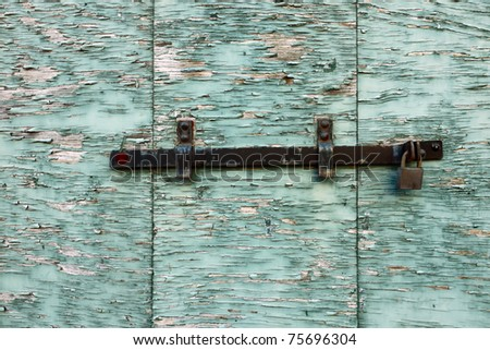 Closed peeling wooden shutter. - stock photo
