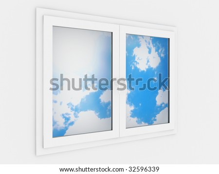 Closed plastic window template model on a white background