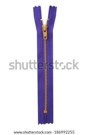 Closed purple zipper isolated over white - stock photo