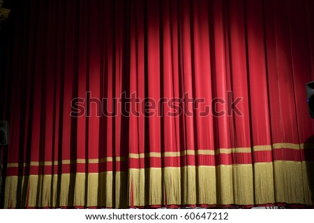 closed red curtain - stock photo