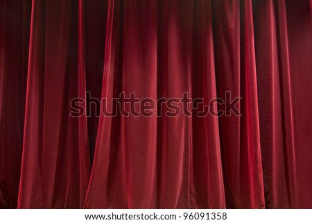 Closed red curtain - background texture - stock photo
