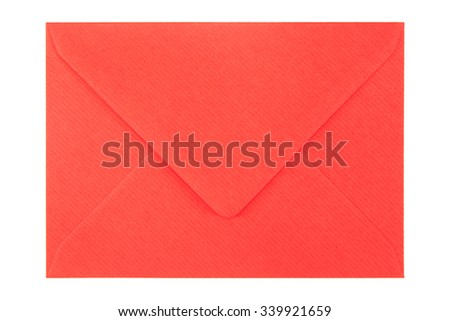 closed red envelope isolated on white background - stock photo