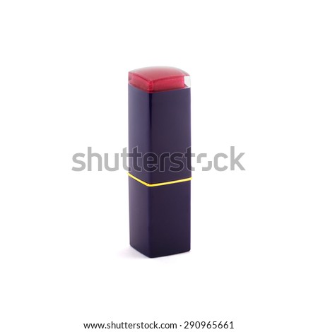Closed red lipstick isolated on white background - stock photo
