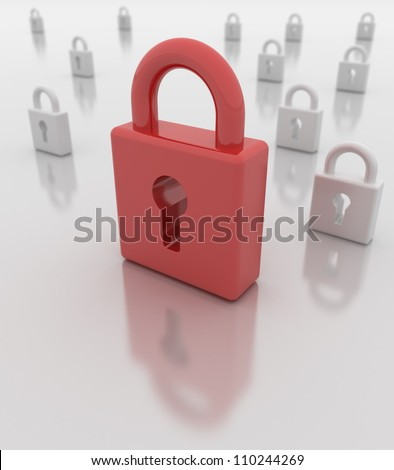 Closed red padlock foreground, white padlocks background. Depth of field. Reflections. Easy to change color of main padlock in photo editors. - stock photo