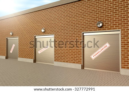 Closed roller doors at business with foreclosure sign - stock photo