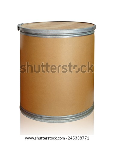 Closed  round box on white background, clipping path. - stock photo