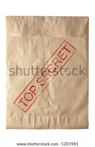 closed rude envelpe for documents eith top secret stamp - stock photo