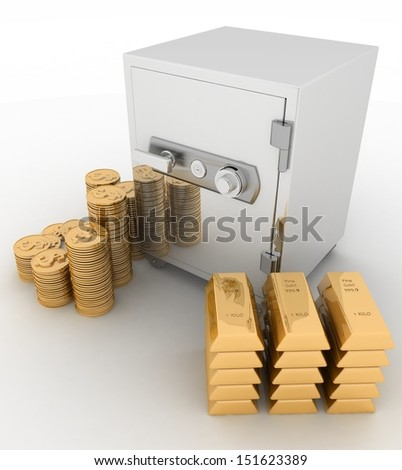 closed safe with dollars and   bullions on white background - stock photo