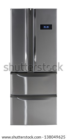 Closed side-by-side refrigerator with pull-out freezer drawers isolated over white with clipping path. - stock photo