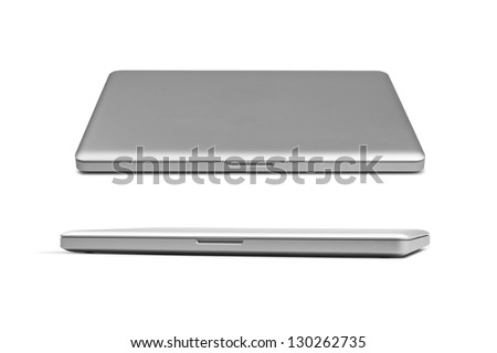 Closed silver laptop isolated on white - stock photo