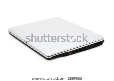closed silver laptop on a white background with pretty shadow - stock photo