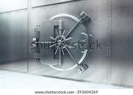 Closed steel bank vault door. 3D Render - stock photo