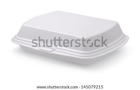 Closed styrofoam food box isolated on white - stock photo