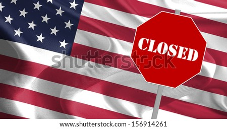 CLOSED Text Message on USA Flag - stock photo