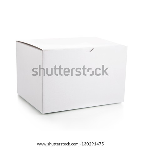 Closed the white box on a white background - stock photo