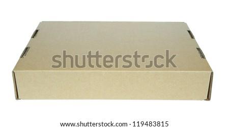 Closed thin cardboard box - stock photo