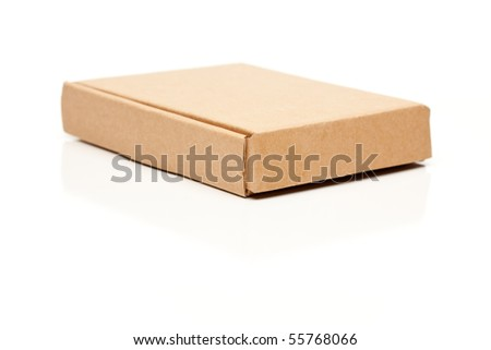 Closed Thin Cardboard Box Isolated on a White Background. - stock photo