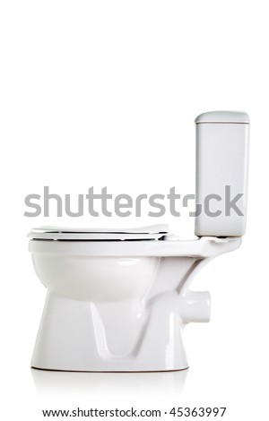 closed toilet, side view, isolated on white - stock photo