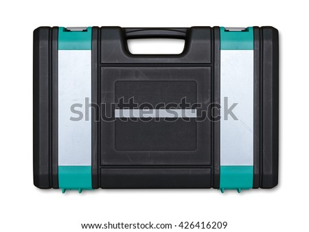 Closed toolbox with different instruments isolated on white background. Everyday instruments and tools. Construction and Repair. - stock photo