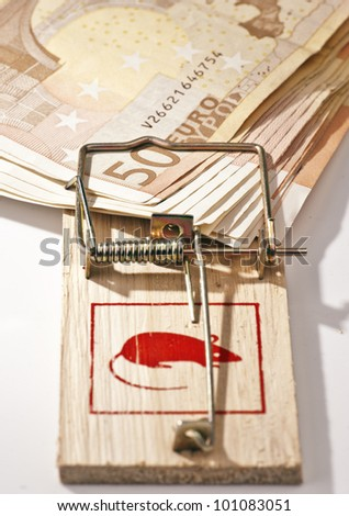 closed trap caught 50 euro notes - stock photo